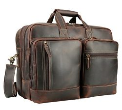 "Polare Full Grain Leather 16.5"" Expandable Business Briefcase Laptop Travel Bag"