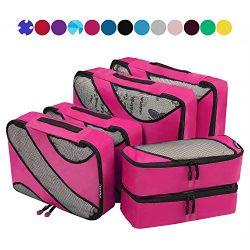 6 Set Packing Cubes,3 Various Sizes Travel Luggage Packing Organizers Fushcia