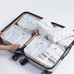 7 pcs Luggage Packing Organizers Packing Cubes Set for Travel (White cactus)