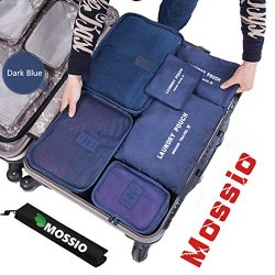 Packing Cubes,Mossio 7 Sets Waterproof Lightweight Laundry Organizer Dark Blue