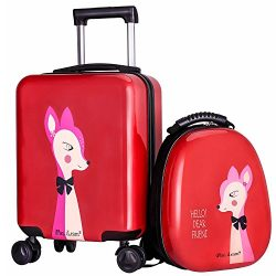 iPlay, iLearn 2pcs Lightweight Kids Luggage Set, 4 Wheels Durable Upright Carry on Trolley Suitc ...