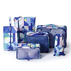 6 Set Packing Cube,EVATECH Travel Packing Organizers for Luggage (Geometry Pattern)