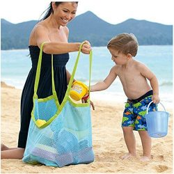 Togather® Extra Large Family Mesh Beach Bag Tote Backpack Toys Towels Sand Away – Blue