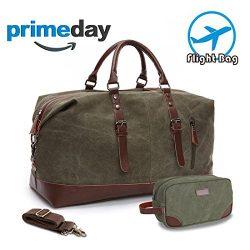 MEWAY Travel Overnight Duffle Bag Canvas Weekender Handbag with Strap (Handbag+Toiletry Bag, ARM ...