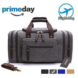 MEWAY Travel Overnight Duffle Bag Canvas Weekender Handbag with Strap (CANVAS, Silver Grey)