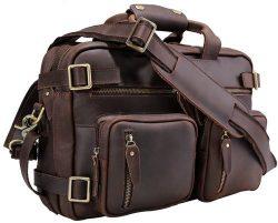Laptop Messenger Bag For Men Iswee Leather Briefcase Convertible Travel Backpack Handbag (16in,D ...