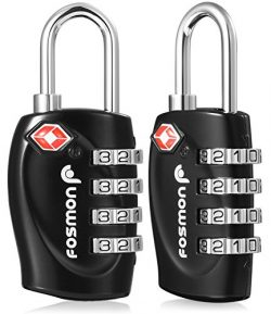 TSA Approved Luggage Locks, Fosmon (2 Pack) 4 Digit Combination Padlock Codes with Alloy Body fo ...