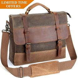 Mens Laptop Messenger Bags 14 Inch, Tocode Water Resistant Leather Canvas Briefcase, Durable Sat ...