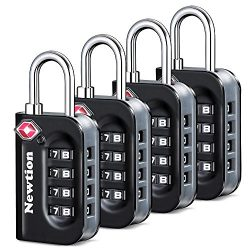 Newtion TSA Lock 4 Pack,TSA Approved Luggage lock,Travel Lock with Double Color Alloy Body,4 Dig ...