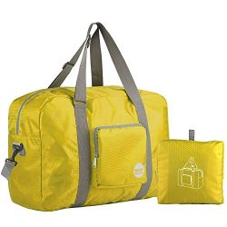 Wandf Foldable Travel Duffel Bag Luggage Sports Gym Water Resistant Nylon, Gold/Yellow