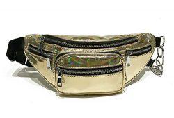 Hologram Waist Bag Waterproof Shiny Neon Fanny Pack Bum Bag Travel Purse Satchel Golden