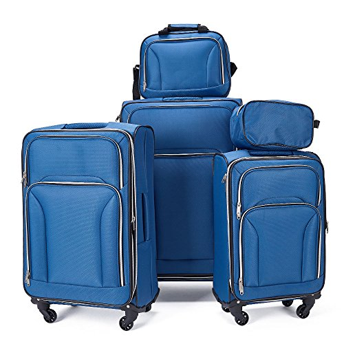 cd8fb9478d67 Fochier Luggage 5 piece Spinner Set Lightweight Expandable Softshell  Suitcase