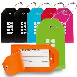 7 Pack TravelMore PU Leather Luggage Tags For Suitcases w/Privacy Cover – Travel ID Identi ...