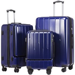 Coolife Luggage Expandable Suitcase 3 Piece Set ABS+PC TSA Lock with Computer Pocket (Navy new)