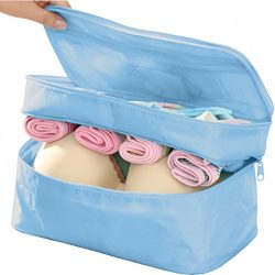 Travel Underwear Organizer Bag, Lightweight Double Layer Large Capacity Cosmetic Bag- Multiple C ...
