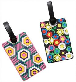 Nasis Cute Travelling Luggage Tag/ID Holder AL9012 pack of 2 (AL9012-flower)