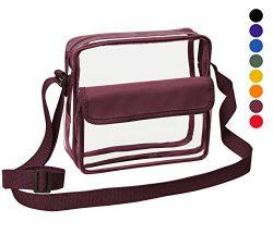 Clear Crossbody Messenger Shoulder Bag With Adjustable Strap Clear Bag Stadium Approved For NFL  ...