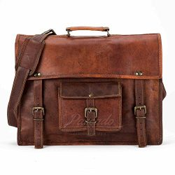 Handmade leather genuine real messenger laptop bag briefcase 15 inch
