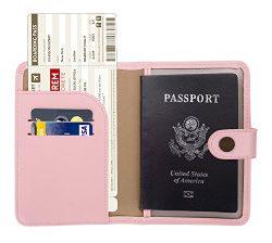 Zoppen Rfid Blocking Travel Passport Holder Cover Slim Id Card Case, 9 Pink