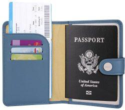 Zoppen Unisex RFID Blocking Travel Passport Holder Id Card Cover (#18 Denim Blue)