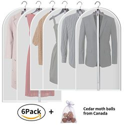 "Allhom Hanging garment bags for storage – 43"" and 54"" long dust proof suit cover with translucen ..."