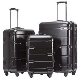 Coolife Luggage Expandable 3 Piece Sets PC+ABS Spinner Suitcase 20 inch 24 inch 28 inch (New Black)