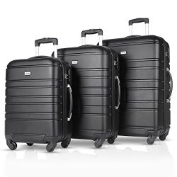 Travelhouse Luggage Set 3 Piece Carry on Lightweight Spinner Suitcase Black