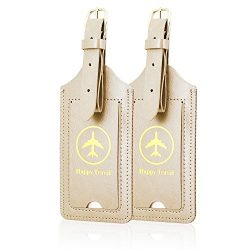 Luggage Tags, ACdream Leather Case Luggage Bag Tags Travel Tags 2 Pieces Set, Gold
