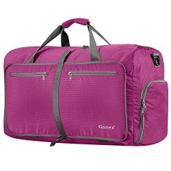 Gonex 80L Packable Travel Duffle Bag, Large Lightweight Luggage Duffel (Rose Red)