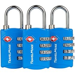 3 Pack TSA Luggage Locks with 4 Digit Combination – Heavy Duty Set Your Own Padlocks for Travel, ...