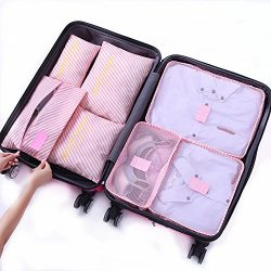 7Pcs Waterproof Travel Storage Bags Clothes Packing Cube Luggage Organizer Pouch (Pink Stripe)