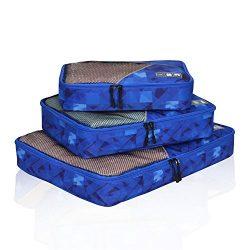Hynes Eagle Travel Packing Cubes 3 Pieces Value Set, Blue Figure