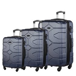 3 PC Luggage Set Durable Lightweight Hard Case Spinner Suitecase LUG3 LY09 NAVY