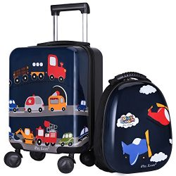 iPlay iLearn 2Pcs Kids Lightweight Luggage Set, Durable Carry on Suitcase, Hard Shell Backpack,  ...