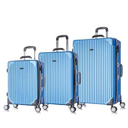 3 PC Luggage Set Durable Phone Charge Feature Suitecase LUG3 LY69 TEAL
