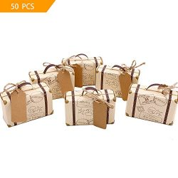 VGoodall Box 50pcs Mini Suitcase Favor Candy Vintage Kraft Paper with Tags and Burlap Twine for  ...