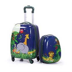 JAXPETY Carry On Luggage With Wheels Kids Rolling Suitcase Backpack 2Pc Cute Travel Set