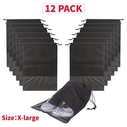 12PCS Shoe Bags Waterproof Non-Woven With Rope For Men and Women Travel Packing Organizers, X-La ...