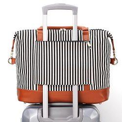 BLUBOON Weekender Overnight Bag Carry-on Shoulder Tote Travel Duffel Bag in Trolley Handle Luggage