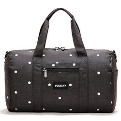 Vooray Roadie 16″ Small Gym Duffle Bag, Black Polka Dot