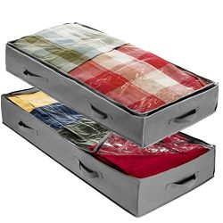 ZOBER Underbed Storage Bag-Pack of 2 Breathable Fabric Underbed Storage For Comforter, Blanket,  ...