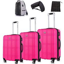 Luggage 3 Piece Set Travel Luggage Set Hardside Expandable Spinner Luggage Sets with Free Gifts, ...