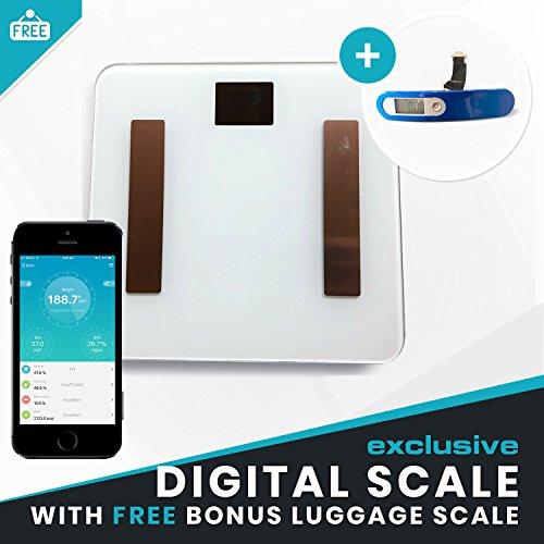White digital bathroom scale bonus luggage scale for Best bathroom finder app