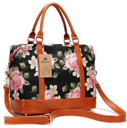 Women Ladies Canvas Weekender Bag Overnight Carry-on Tote Duffel in Trolley Handle (Flower-black)