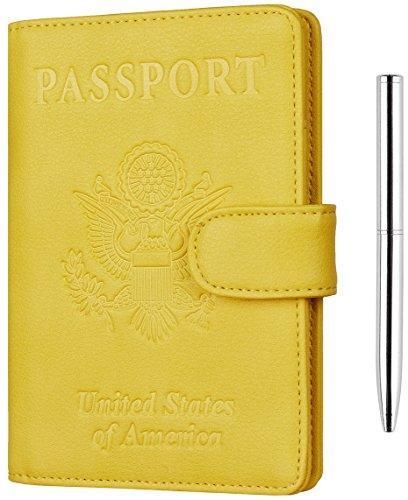 NapaWalli Leather Passport Holder Wallet Cover Case RFID Blocking Travel Wallet (nappa sunshine  ...