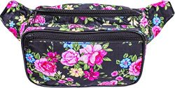 SoJourner Black Floral Fanny Pack Waist Bag | for women, men and kids | cute fits small medium large