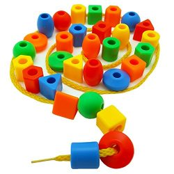Skoolzy Preschool Large Lacing Beads for Kids – 30 Stringing Beads with 2 Strings Toddler  ...