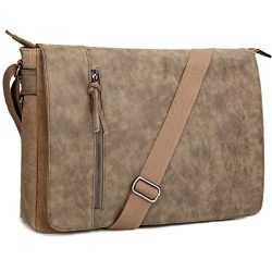 Laptop Messenger Bag 16.5 inch for Men and Women, Tocode Vintage Canvas and Waterproof PU Leathe ...