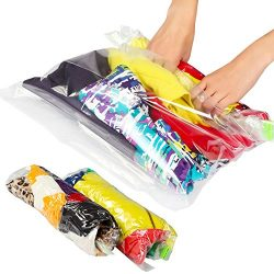 Lekors Travel Space Saver Bags – 5 Medium and 5 Large Roll Up Storage Bags – Pack of ...