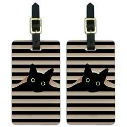 Black Cat In Window Luggage ID Tags Suitcase Carry-On Cards – Set of 2